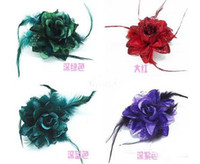 Wholesale Free EMS Fashion hair accessories Lady feather Flower hair clips Brooch mix colors