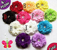 Wholesale Peony Crystal Center Flower Girl Toddler Baby Hair Clip For Headband Hair Ornaments Mix