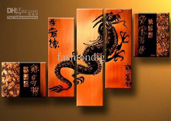 acheter peinture l 39 huile dragon feng shui d coration moderne de haute qualit peint la main. Black Bedroom Furniture Sets. Home Design Ideas