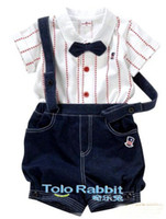 Boy 2T-3T 90-100-110 Baby Boys Girls Formal Garment White Stipe Bow Tie Shirt+Blue Denim Suspender Trousers 00401