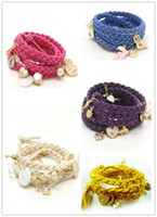 Wholesale Korea cashmere Multi layer multi pendant leather cord bracelets charm bracelet