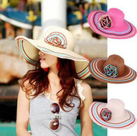 Wholesale Rose White Wide Large Floppy Brim Summer Sun Hat Beach Sun Straw Flower Cap Visors Beach Derby