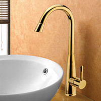 High Quality Brass Kitchen Faucet with Gold Finish and Ceram...