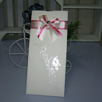 Wholesale Floral Wedding Cards Wedding Invitation With Pink Bow Pocket Wedding Invitation card