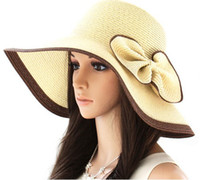 Wholesale 2012 NEW Wide Large Floppy Brim Big bow Summer Beach Sun Straw Beach Hat Cap Flexible
