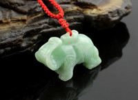 Pendant Necklaces Asian & East Indian Unisex Natural white jade pendant, hand-carved elephant pendant, pendants, necklaces
