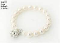 Wholesale Ball Pearl Bracelet New Fashion White Glass Faux Pearls Bangle Jewelry