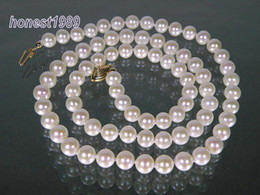 New 28INCHES 8-9mm good GRADE WHITE AKOYA PEARLS NECKLACE 14K