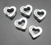 Wholesale 50pcs mm Half Rhinestones Heart Slide Charms Fit Pet Collar Necklace Bracelet Cell Accessories
