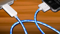 Wholesale Glow USB Cable Charger Sync EL Light up for iphone S ipad2 new ipad ipad3 ipod