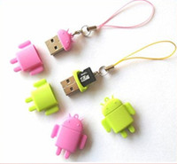 USB 2.0 best mini sd - Lovely Mini Lover Android Robot USB Micro SD Card Reader TF Memory Card Reader Best Qual