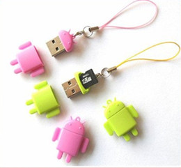 Wholesale Lovely Mini Lover Android Robot USB Micro SD Card Reader TF Memory Card Reader Best Qual