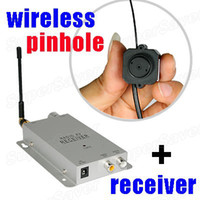 Wholesale CCTV Security Mini Micro Wireless Pinhole Color Camera Video Receiver Ghz with Video amp Audio