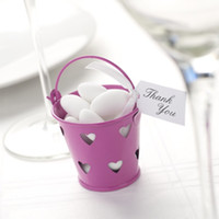 Favor Tins and Pails pails - Hot Pink Heart Mini tin pails favors mini pails mini bucket candy boxes package for decoration