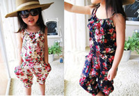 Wholesale Holiday Pants Girls Pants Floral Cotton Siamese Shorts Beautiful Flowers Printing Children s Shorts Three Colors Design Mix Color Workable
