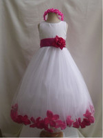 Wholesale 2012 Hot Sale A line Jewel Ribbon Flower Satin Flower Girl Dresses First Communion Dresses