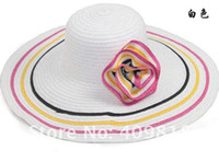 Wholesale 2012 NEW Design Wide Large Floppy Brim Summer Beach Sun Straw Flower Cap Visors Beach Derby Hat co