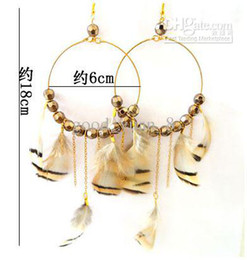 Wholesale G472 super immortal fashionable Beaded Feather Earrings large circle Feather Earrings