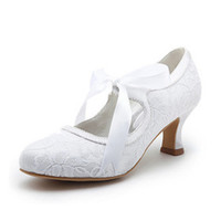 Wholesale Eye Catching In Stock White Or Ivory Lace Ribbon CM Middle Heel Wedding Prom Shoes Bridal Shoes For Bride Summer Sandals SS010