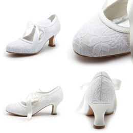 Wholesale Free Ship Eye Catching In Stock Vintage White Or Ivory Lace Ribbon Leather CM Middle Heel Summer Bridal Wedding Shoes For Bride SS007