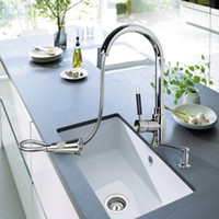Brass Kitchen Faucet with Chromium Finish and Ceramic Valve