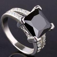 Women's Party Prong setting Lots 6PC eLuna 9x9mm Square Stone Yin black Onyx Silver Ring Size 8 Women Fashion J0688