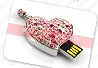 Wholesale Crystal Love Heart Shaped Usb Flash Memory Drive Flash Disk GB GB