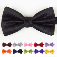 Wholesale Elegant gentleman bow tie solid color silk bowtie for marry christmase gift Men Tuxedo Bowtie
