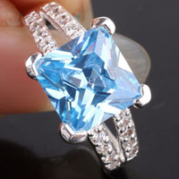 Wholesale eLuna x9mm Square Stone YIN Birthday Party Gift blue Topaz Silver Ring Size Women Fashion J7815