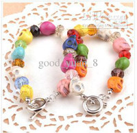 Wholesale I26 exclusive design Natural Crystal Skull Bracelet bracelet