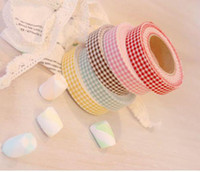Wholesale Washi Masking Tape DIY Cloth Grid Stickers Cute Stationery Colorful Sticky style