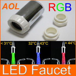 Wholesale Glow LED Light Water Stream Faucet Tap kitchen bathroom faucets led faucet H4710