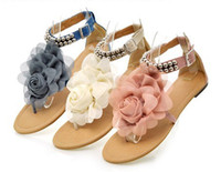 Wholesale New Arrive Sweet Women Flat Sandal with Flower amp Beads Fashion Shoes Sandal blue pink beige