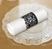 Wholesale NR1101 pack Laser Cutting Heart Paper Napkin Ring color can be customized