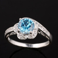 Wholesale eLuna mm Round rings engagement Yin blue Topaz Slim Band Silver Ring Lady Fashion Size J0763