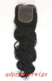 Wholesale indian remy hair silk base swiss lace top closure quot B natural wave x4 quot
