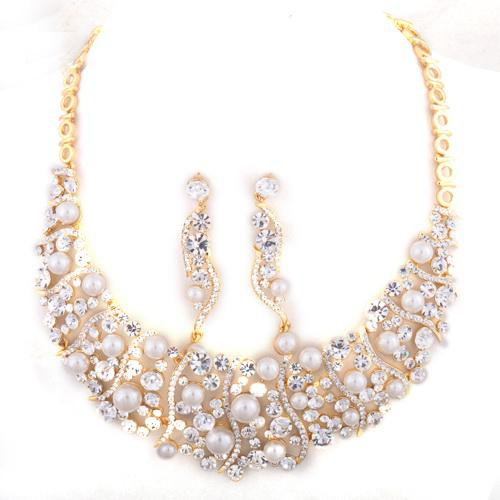 Pink bridal jewelry set crystal necklace earrings 18k gp for Pink wedding jewelry sets