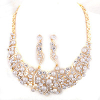 Earrings & Necklace beauty wedding jewelry sets - pink bridal Jewelry set crystal necklace earrings K GP zinc alloy NJ Beauty paradise Rihood