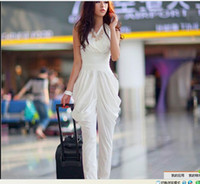 Wholesale Hot summer new fold waist Harlan vest piece pants jumpsuit