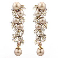 Wholesale pearl drop earrings with AAAA crystals brown clear white BA PROMOTION Beauty paradise Rihood Jewelry colors