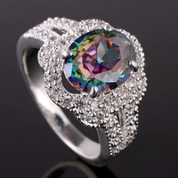 Women's Gift 7 Lots 6Pcs Oval Stone Colorful Topaz Multi-CZ Embed Silver Ring Size 7 Yin J0734