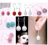 Wholesale Mix Color mm Shamballa Disco Pave Crystal Ball Earrings High Quality Shamballa Product