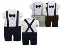 al por mayor botón de la camisa del niño-Baby Boy Blanco Pajarita Button Shirt + Azul Navy Toursers Niños Niños Set Outfit Niños