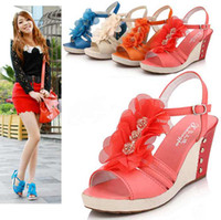 Red Women Wedge New Women's Girls Flower Wedge Heel Sandals Open Toe Casual Sandal #3339