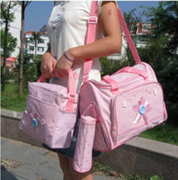 Wholesale 2 Multi Function Baby Diaper Bags Accessories Pink Waterproof PVC lining
