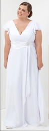 Wholesale Simple plus size V Neck Chiffon Prom Dresses Sheath Column Floor Length Mother of the Bride Dresses
