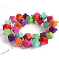 Wholesale Strings Multicolor Square Gemstones Howlite Turquoise Beads Semi precious Beads