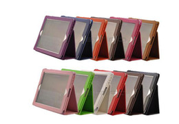 Wholesale Smart Cover Table Holder - PU Leather table pc case pouch cover auto wakes up standby Stand Holder for New ipad ipad 3 ipad 2 leather stand case