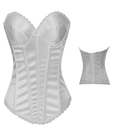 Wholesale Sexy Victorian White Corset Waist Cincher Bustier Girdle Bridal Dress with Bow Details G String