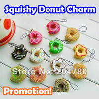 Wholesale Promotion Hot Sell Kawaii Squishy Donut Phone Charms Squishies Cell Phone Straps New Bi